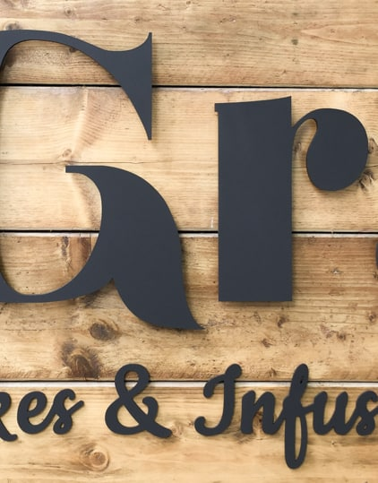 Cafe Sign lettering in detail. Perfect type face for the application