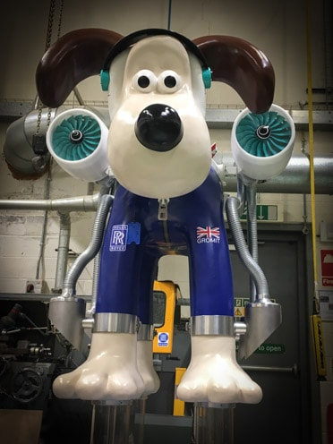 Gromit lifts off with his Rolls Royce engines!