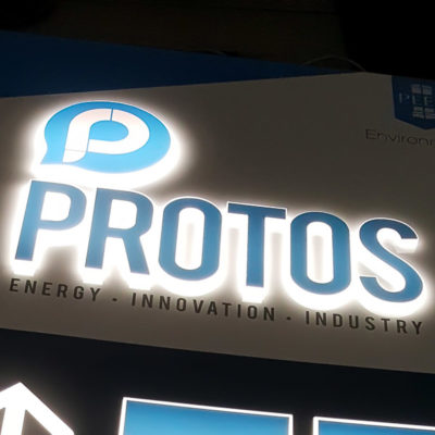 An illuminated totem or monolith exterior sign internally illuminated by LED's with pushed through acrylic letters and vinyl faces