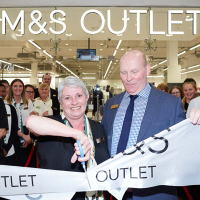 Opening of the Lowry Outlet M&S Store stood in front of Voodoo's built up, internally LED illuminated shop sign letters