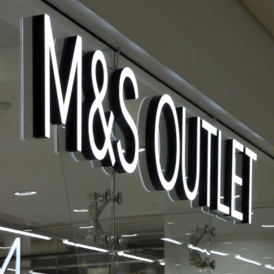 side profile photo of the M&S built up, internally illuminated LED letters fabricated by Voodoo for Marks and Spencer