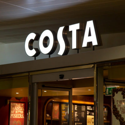 Costa Coffee Restaurant sign at Gloucester Quays made from built up aluminium with opal acrylic faces and internally illuminated by LED