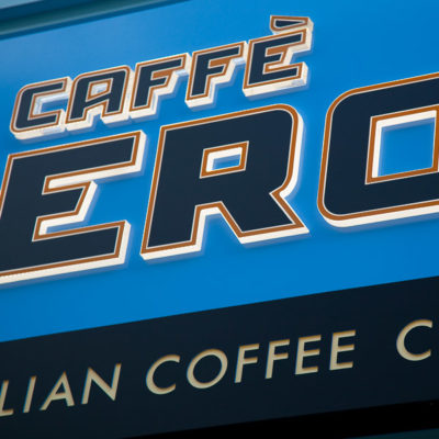 Caffè Nero Restaurant sign at Gloucester Quays made from an aluminium fascia with 20mm acrylic push through letters and internally illuminated by LED