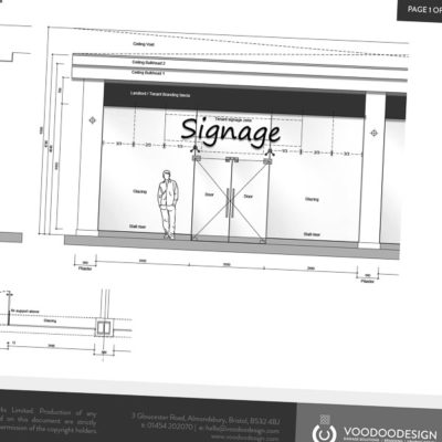 Signage Specification drawing for a Shopping Centre
