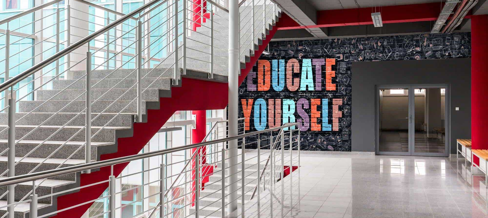 Inspirational wall graphic in a school