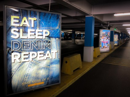 Backlit Poster in a car park internally illuminated by LED