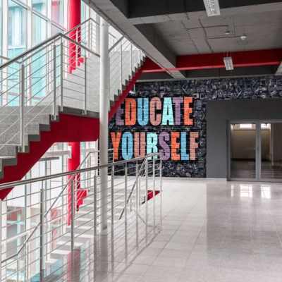 Motivational applied vinyl wall graphics in a School