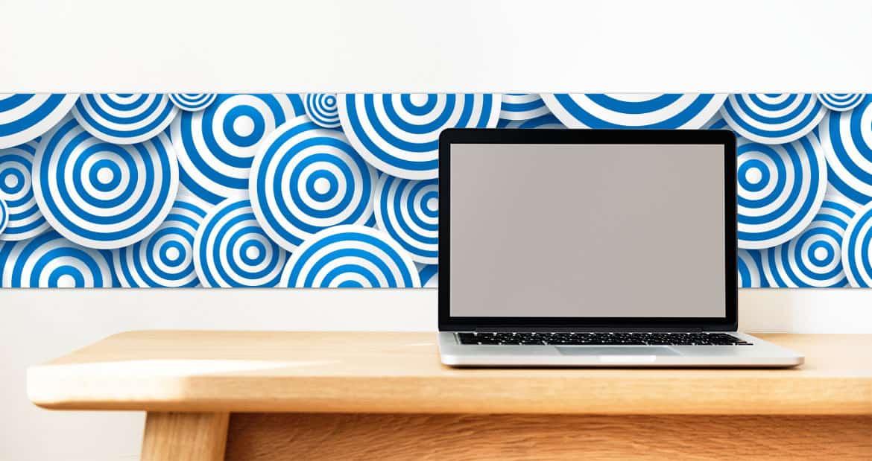 Blue wall frieze on office wall