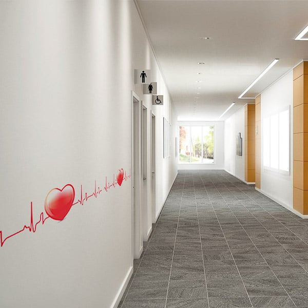 Self Adhesive Frieze Graphics applied to a hospital corridor