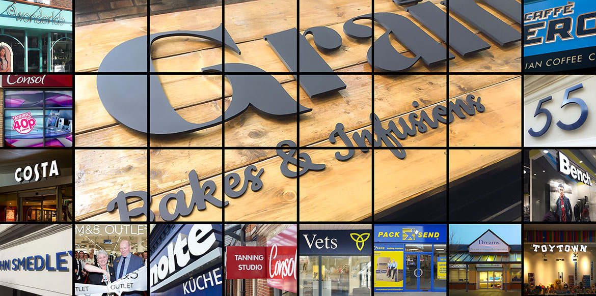 Illuminated and non-illuminated Shop Front Signs shown in a montage