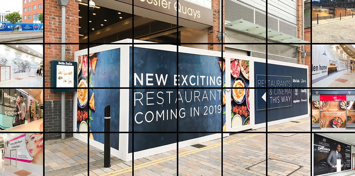 Hoarding Graphics covering the internal works of a shopfit