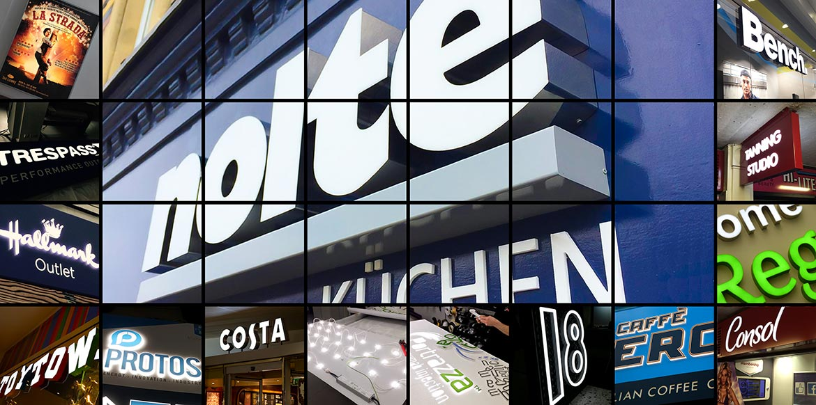Montage of illuminated signs for retail and business