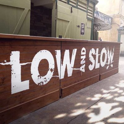 Creative restaurant business signage for Low and Slow