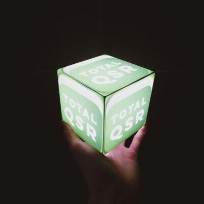 Custom built acrylic illuminated cubes for Total QSR