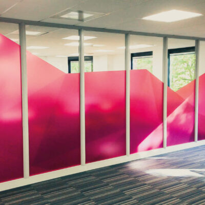 Etch effect graphics for office partitions