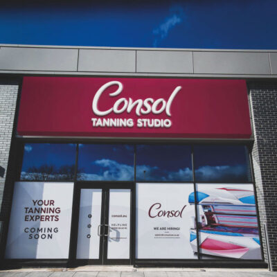 Large format flexible face sign for Consol