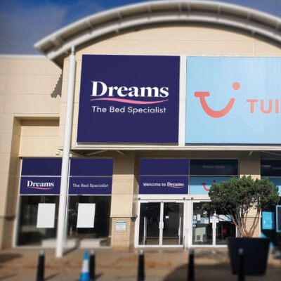 Flexible face sign for Dreams in a retail park