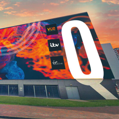 Large format flexible face sign at Media City