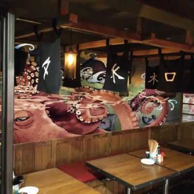 A wall mural in a restaurant