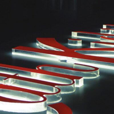20mm flame polished acrylic lettering illuminated using LED's