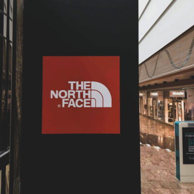 A projecting sign for North Face at Gloucester Quays