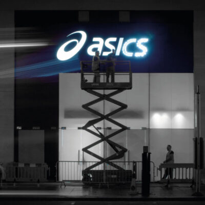 Rimless lettering for Asics on Oxford Street