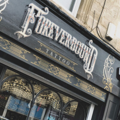 Shop front sign for Foreverbound tattoo shop