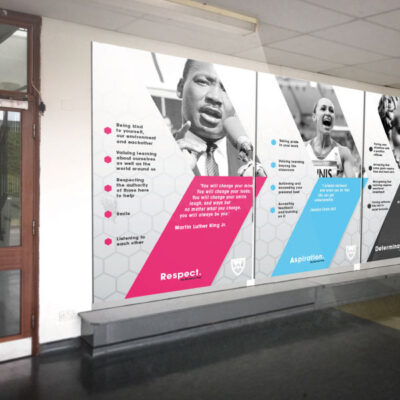Wall graphics and infographics highlighting brand collateral