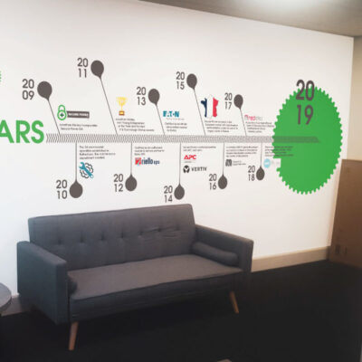 Office wall graphics and infographics