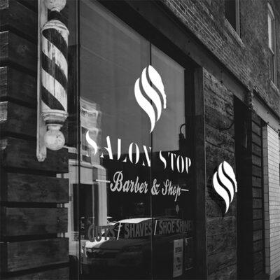 Vinyl graphics for a Barber Shop window