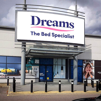 Backlit flex face graphics for a Dreams store