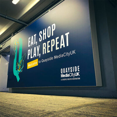 Backlit flex face graphics for the Quayside development at MediaCity UK