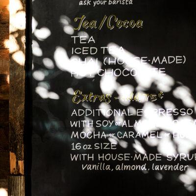 Chalk art menu board