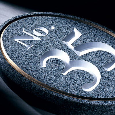 Corian engraved wall plaque