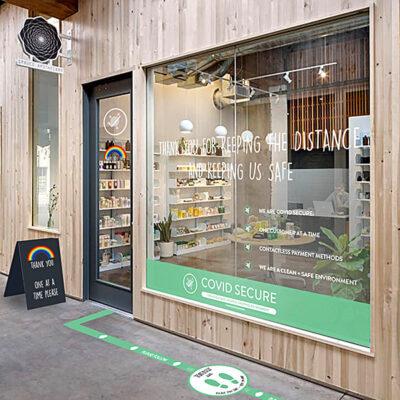 Custom Distancing Graphics on a Shopfront