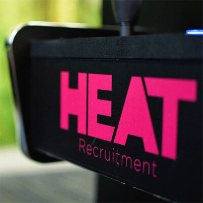 Custom stickers for Heat Recruitment - Applied to a football table