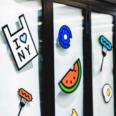 Custom stickers applied to a window