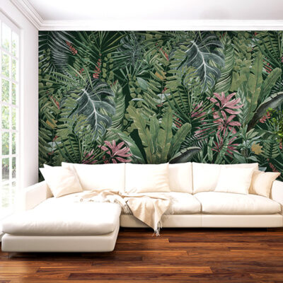 Custom Wall Paper in a living room