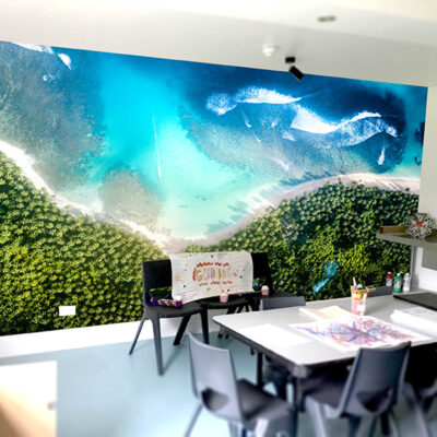 Beach scene wall graphics in an office