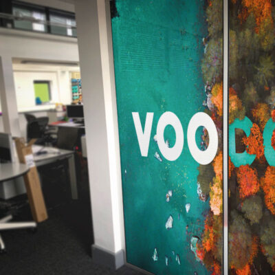 Large format digitally printed partition graphics