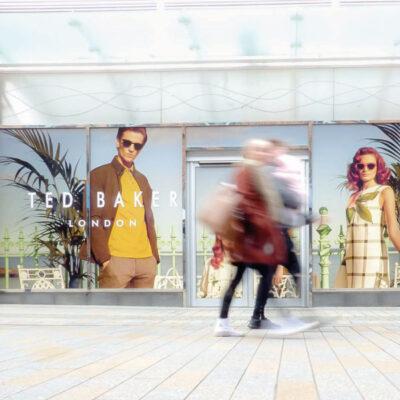 Digitally printed window graphics on an empty shop unit