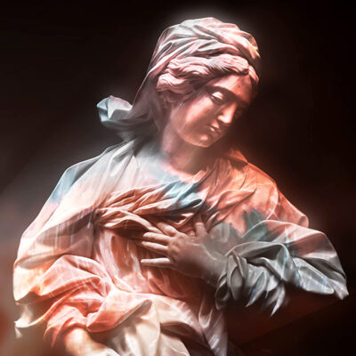 Projection mapping onto a statue