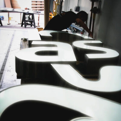 Bespoke rim and return letters made for Asics Flagship store in Oxford Street