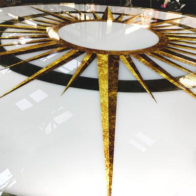 Custom floor graphics on acrylic for TV production