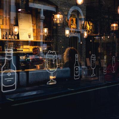 Glazing Manifestation Markings in a restaurant