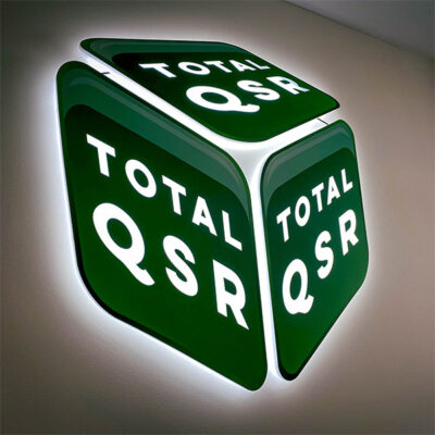 Illuminated Super Slim Sign Panel for Total QSR's Office