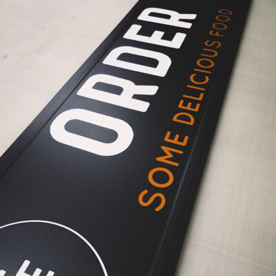 Illuminated Super Slim Sign for a food order point