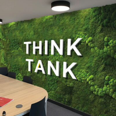 Creative office wall graphics with textural materials