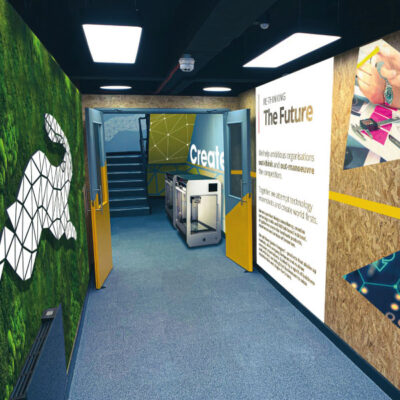 Wall graphics adorning a corridor in an office environment