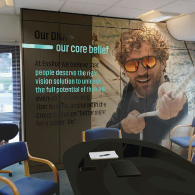 Digitally printed office partition graphics